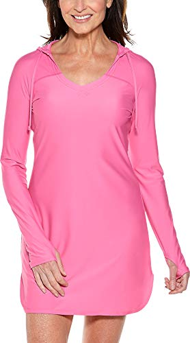 - Coolibar UPF 50+ Women's Seacoast Swim Cover-Up Dress - Sun Protective (Medium- Hawaiian Pink)