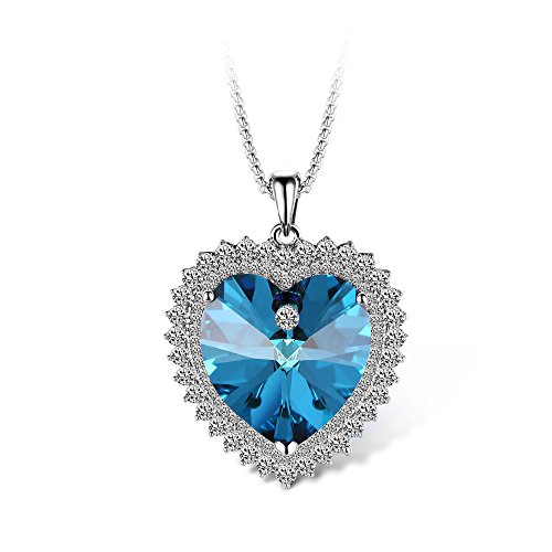 T400 Jewelers Joy of Love Heart Shape Pendant Necklace Made with Swarovski Elements Crystal Love Gift (Blue)