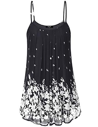 Lotusmile Women's Pleated Chiffon Layered Cami Front Pleat Cool Short Tank Tunic Dress (Small, Multicolor Black)
