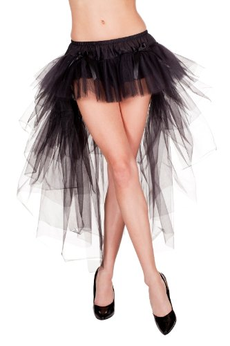 MUSIC LEGS Women's Long Back Multi Layered Skirt, Black, One (Costumes With A Black Skirt)