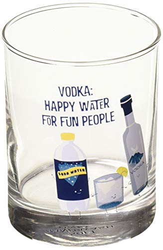 (Pavilion Gift Company 74874 Vodka: Happy Water for Fun People-11 o 11 oz Rocks Glass Blue)
