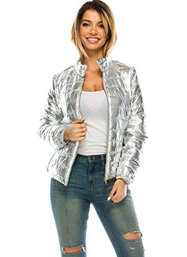 JEZEEL Women's Lightweight Solid Quilted Metallic - Metallic Jacket Quilted