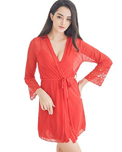 Women's Sexy Babydoll Lingerie Set Lace Chemise Sleepwear (M, Red)