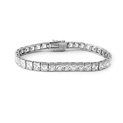 Sterling Silver Princess Bracelets (Sterling Silver & Princess Square CZ Stones Eternity Tennis 7.25