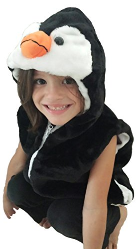 MVF Fashion Vest with Animal Hoodie for Kids - Costume - Pretend Play (Small, Penguin) -