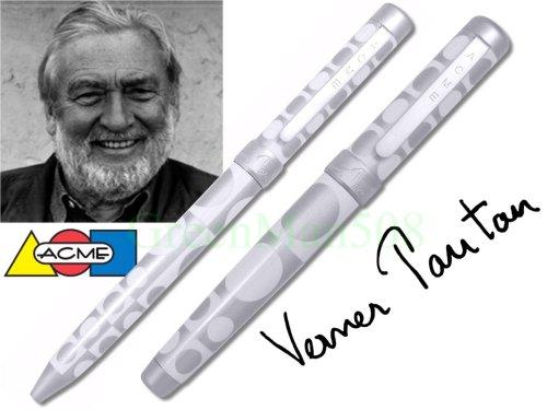 - ACME Studios Inc Geometri White Retractable Ballpoint Pen and Roller Ball Pen Set (PVP05SET)