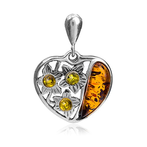 Sterling Silver Multicolor Amber Heart Pendant