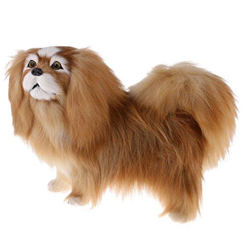 MagiDeal Lifelike Plush Simulation Animal Model Realistic Pekingese Dog for Home Ornament Desktop Decor Kid Toy Gift Collectibles