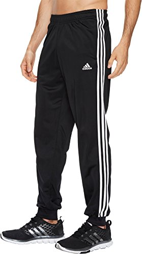 adidas Men's Athletics Essential Tricot 3 Stripe Tapered Pants, Black/White, Large (3 Essentials Stripes Pant)