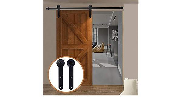 LWZH - Kit de herramientas para puerta corredera de granero de 16 pies para perchas de puerta única, color negro y forma redonda (cada puerta de ancho de 96 pulgadas).: Amazon.es: Bricolaje
