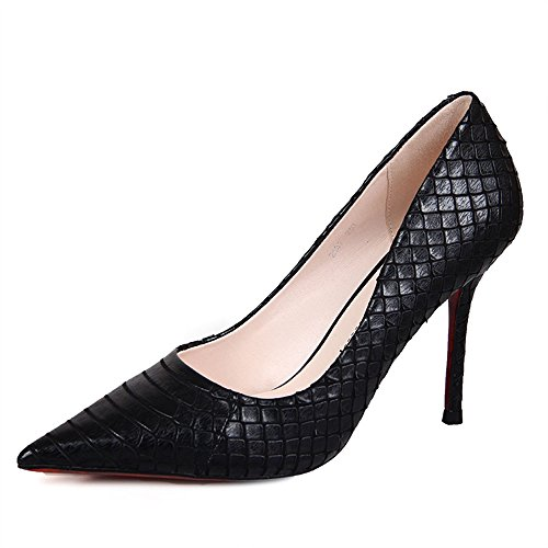 Sandals Feifei Women's Shoes High Quality Material Fashion Fish Scales Shallow Mouth High-Heeled Single Shoes 3 Color Optional (with High: 9.5CM) Black zr8rn