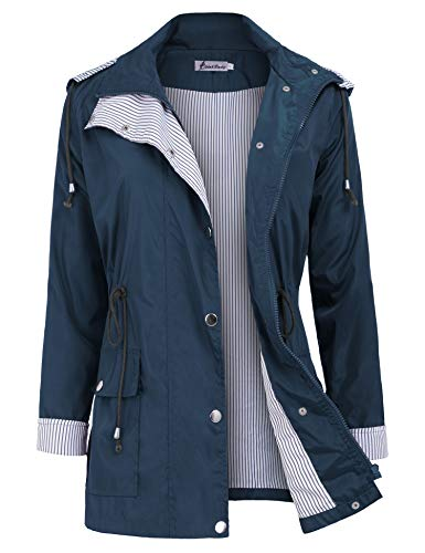 - Twinklady Rain Jacket Women Windbreaker Striped Climbing Raincoats Waterproof Lightweight Outdoor Hooded Trench Coats Short Navy Blue S