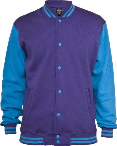 "Urban : ""2-tone College Sweatjacket"" Size: XXL, Color: purple-turquoise …TB207"