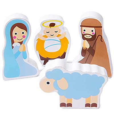 Piece on Earth Nativity Puzzle Board | Children's 11 pc. Chunky Wooden Inset Shapes | First Christmas, New Testament Christian Bible Story Toy for Advent, Religious Holidays, and Learning: Toys & Games