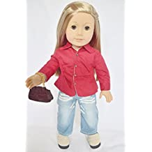 CASUAL OUTFIT WITH PURSE AND SHOES FOR AMERICAN GIRL DOLLS AND MAPLELEA