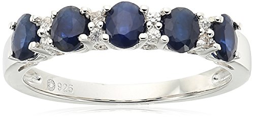 Sterling Silver Blue Sapphire and White Zirconia 5-stone Stackable Ring, Size 7 by Amazon Collection