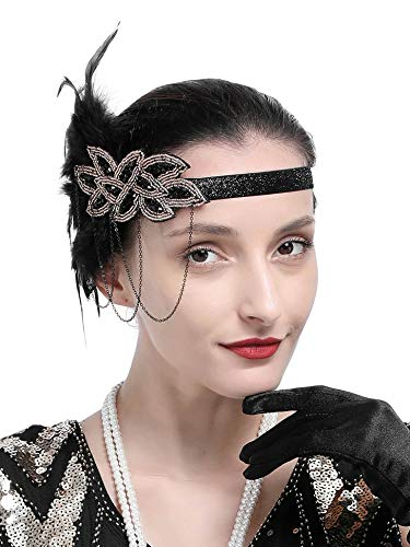 1920s Gatsby Flapper Feather Headband 20s Accessories Crystal