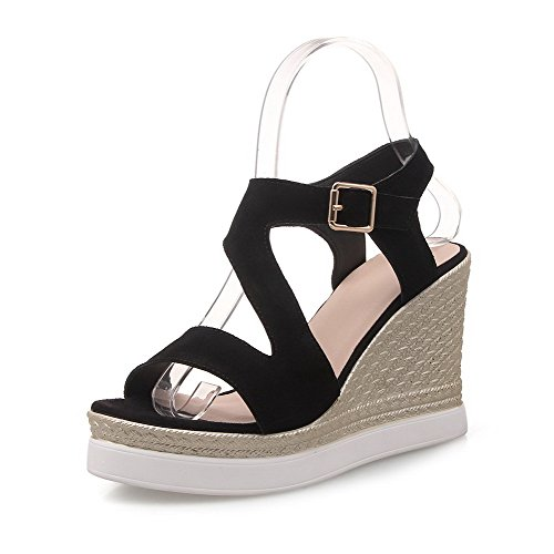 Suede Womens Open Cow Sandals Toe Imitated Black AllhqFashion Solid Buckle High Heels UYw8aYqd6