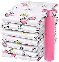 Bolsas de Vacío Almacenamiento,Paquete de 6 + Bomba Manual Gratis para Viajes,Premium Vacuum Storage Bags para Ropa de...