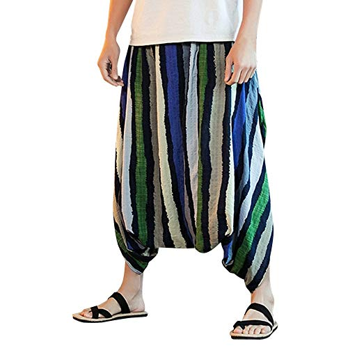 [해외]코리 남성 헐 렁 한 보헤미안 바지 남성 복고풍 인쇄 힙합 하 렘 바지 코 튼 리넨 집시 바지 / Corriee Men`s Baggy Boho Trousers Men`s Retro Print Hip Hop Harem Pants Cotton Linen Gypsy Pants