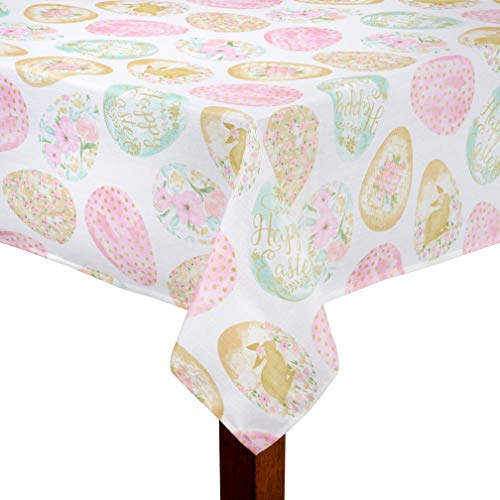 (Easter Egg Delight White & Pastel Print Polyester Fabric Tablecloth (60