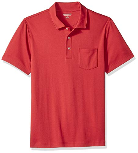 Amazon Essentials Men's Slim-Fit Pocket Jersey Polo, Red, Small]()