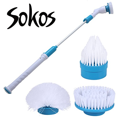 Spin Scrubber, Turbo Scrub Rechargeable Scrubber Cleaning Brush 360 Cordless Cleaning Tool for Bathroom, Floor, Wall by Sokos