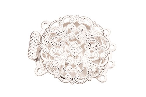 Filigree Round 4 Strand Box Clasp Silver Plated Brass 27.7x22.5mm sold per pack of (Filigree Box Clasp)