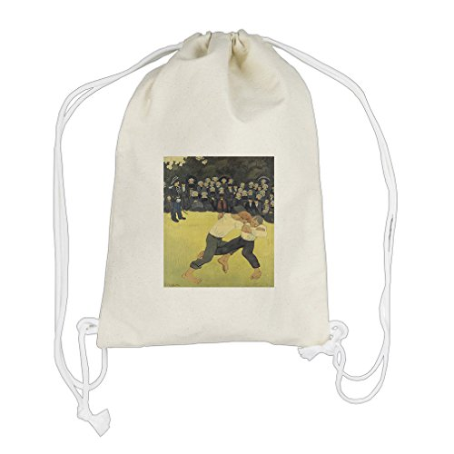 Breton Wrestling (Paul Serusier) Cotton Canvas Backpack Drawstring Bag Sack by Style in Print