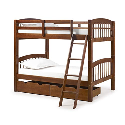Spindle Twin Bunk Bed with 2 Storage Drawers, Chestnut