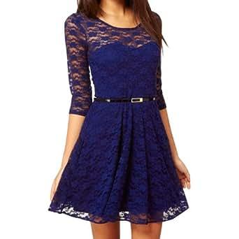 Ostart Sexy Lady Lace 3/4 Sleeve One-piece Dress (6, Dark Blue)