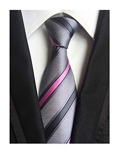 (Mens Fashion Style Grey Pink Stripe Silk Tie Necktie Pretty Birthday Gift Online )