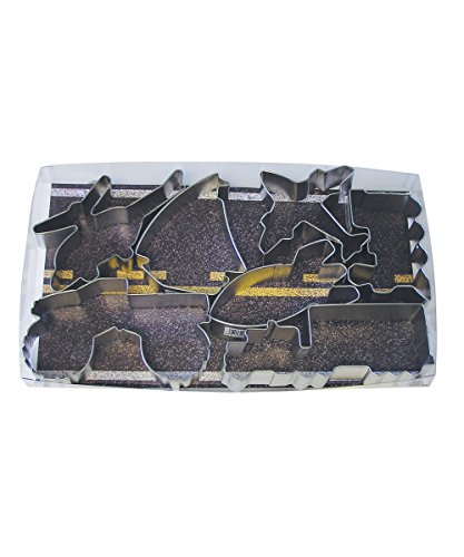 R&M International 1903 Transportation Cookie Cutters, Helicopter, Sailboat, Airplane, Locomotive, Rocket, Monster Truck, Big Rig, 7-Piece Set