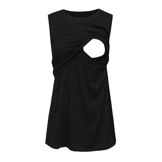 5a5e661fe9d Women's 2 Layers Sleeveless T-Shirt Maternity Nursing Tank Top Breastfeeding  Pregnancy Basic Top Black