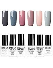 ROSALIND Gel Nagellak Set Soak Off UV LED Gel Polish Kit 6 x 7ml, Gelnagel Starterset Manicure Nail Art Kit Professionele