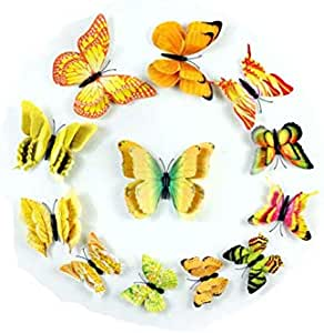 12pcsColorful DIY Butterfly Wall Stickers Decoration with colour orange-yellow For Home Decor, Kids Rooms ,3D Vinyl Festival Party Wedding Decorations