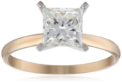 (IGI Certified 14k Yellow Gold Classic Princess-Cut Diamond Engagement Ring (2.0 carat, H-I Color, SI1-SI2 Clarity), Size 7)
