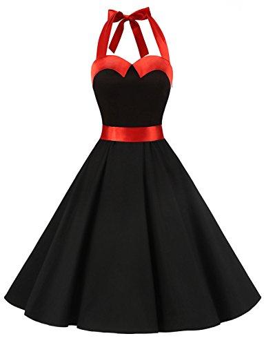 Dressystar Vintage Polka Dot Retro Cocktail Prom Dresses 50's 60's Rockabilly Bandage Solid Black XS