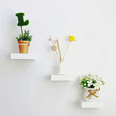 """HAO ALWAYS DO BETTER Set of 3 Small Size Floating Wall Shelf 4 Inch Showcase White - SMALL FLOATING SHELVES:Set of 3 Small Floating Wall Shelves each shelves measures 4.2"""" L x 3.2"""" W x 1"""" H, Set of 3 packing, Each shelf holds up to 2-1/2 pounds for display treasures or organizing your space. SPACE-SAVING and STYLISH:Set of 3 floating wall shelves materials will safely hold up your precious items and add personality to any room VARIETY INSTALLATION WAY:Create a detached shelf effect to highlight small precious items, or a charging station for your cellphone, also make great display shelves for collectibles. - wall-shelves, living-room-furniture, living-room - 41Rwua3RDdL. SS400  -"""
