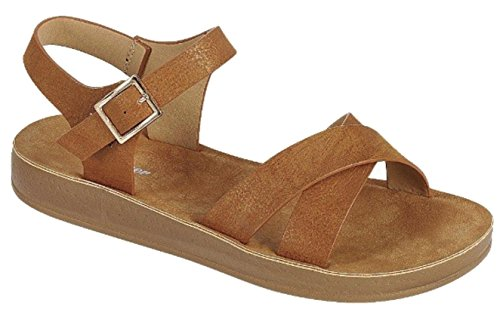 (Posh Chica Women's Criss Cross Strappy Open Toe Ankle Strap Flat Sandals FRef8, Tan 8.5 B(M) US)