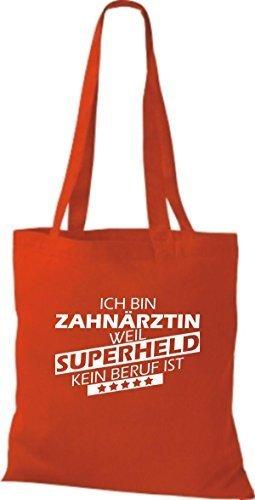 Shirtstown Bolso de tela Estoy Dentista, weil Superheld sin Trabajo ist Rojo