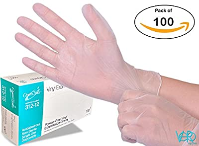 Disposable Vinyl Gloves - Powder Free, Clear, Latex Free and Allergy Free, Plastic, Work, Food Service, Cleaning