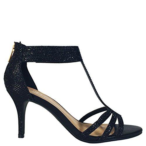 Heel Black Mid T Women's Bamboo Strap Sandal Dress Heel EHq77f