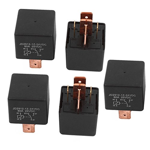 uxcell DC 24V Coil 80A 5 Pins SPDT Car Automotive Alarm Security Power Relay 5pcs