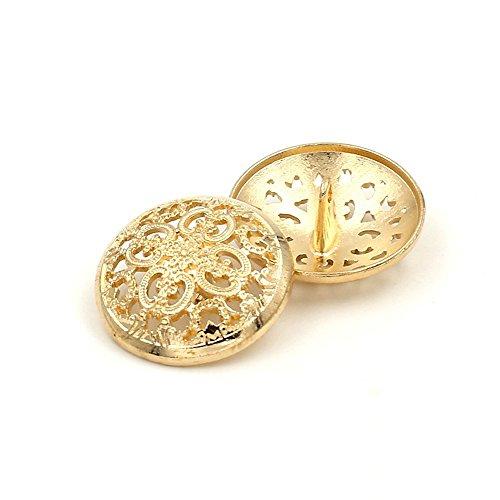 Round Button Gold (10PCS Clothes Button - Retro Hollow Sewing Button Shank Round Shaped Metal Button Set for Men Women Blazer, Coat, Uniform, Shirt, Suit and Jacket (Gold, 15mm))