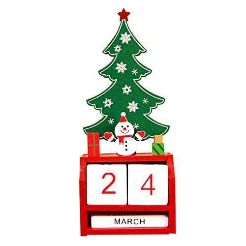 - Iusun Chritmas Mini Wooden Calendar Table Decoration Kid Bedroom Desk Ornament Home Office Supplies Gift (B)