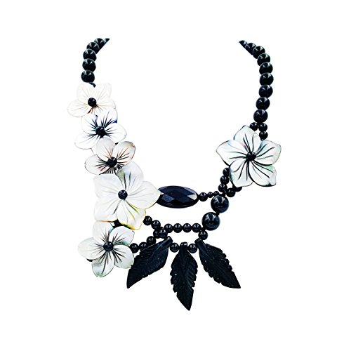 """Onyx Black Toggle Necklace - Black Onyx,SHell Flowers,Black Jade with Jade Toggle Clasp Statement Necklace Approx 20"""""""