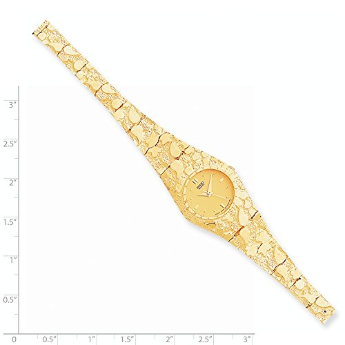 Brilliant Bijou 10k Yellow Gold Champagne 22mm Dial Nugget Watch 7 inches