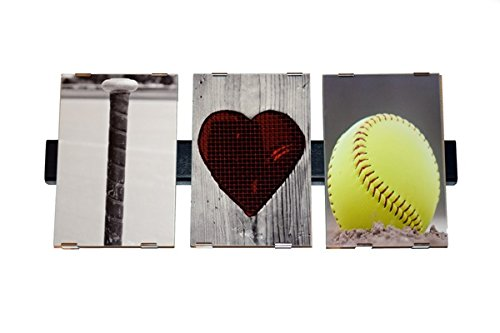 I LOVE SOFTBALL Photograph Word Letter Art Alphabet Creative Home Decor Office Display Gift Present 4 X 6 Professional Pictures Objects as Letters Bat Heart Pics Only Frame Not Included (Baseball Alphabet Letter)