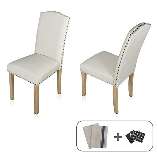 Dining Chairs Set of 2 Fabric Upholstered Lounge Chair Nailed Trim Leisure Padded Solid Wood Legs Kitchen & Dining Furniture